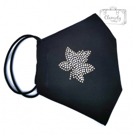 BLACK COTTON PROTECTIVE MASK WITH SILVER DIAMOND MAPLE LEAF